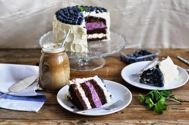 Шоколадный торт с черничным муссом
